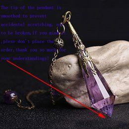 $enCountryForm.capitalKeyWord Australia - 1Pc Polished Natural Purple Stone Amethyst Crystal Dowsing Point Pendant Divination Metaphysical Spiritual Chakra Healing Balancing Pendulum