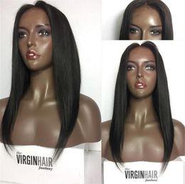 Cut Wig Australia - Short Glueless Lace Front Human Hair Bob Wigs For Women Brazilian Remy Hair Straight Bob Lace Front Bob Cut Wigs Pre Pluck