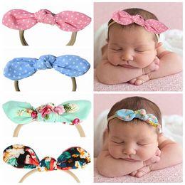 2018 rabbit ears headbands newborn baby knot hair accessories for girls  hair bows cute bunny hairbands dot floral head bands elastic nylon 483113d63e4d