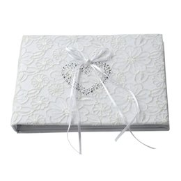signed books UK - Guest Book White Lace Ribbon Sign Book for Wedding Engagement Party