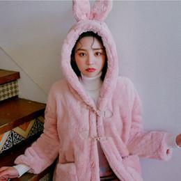 Discount bear ears jacket - Pink Cute Bear Ear Faked Fur Coat Warm 2018 New Horn Buckle Imitation Fur Furry Rabbit Loose Coat Female Jacket Outwear