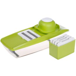 Cutter Onions NZ - Slicer Manual Vegetable Cutter With 5 Blades Multifunctional Vegetable Cutter Potato Onion Slicer Kitchen Accessories