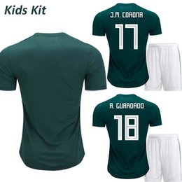 Tops Mexico 2018 Kids Jersey World Cup 2018 Mexico Kids Kit Home Jersey  A.Guardado G.dos Santos Chicharito Green Young Boys Football Shirt 70617f3f8