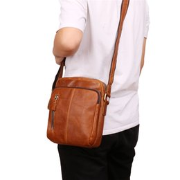 vintage ipad messenger bag UK - Nesitu High Quality Vintage Brown Coffee Genuine Leather Small Men Messenger Bag For ipad mini Real Skin Male Shoulder Bag M6421