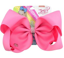 8 Inch Jojo Siwa Hair Bow Solid Color With Clips Papercard girls Hairpins kids Hair Accessory Toddler Headwear on Sale
