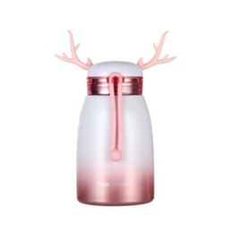 Wholesale Stainless Steel Water Bottle UK - Cartoon Double-layer Water Bottle Vacuum Stainless Steel Cup Antler Mug Water Bottles Christmas Gifts 4 Colors