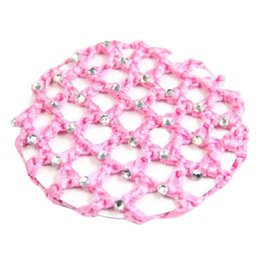 Crochet Snood Hair Net Australia - 1 PC Cover Hair Net Women Hair Bun Cover Snood Rhinestone Ballet Dance Skating Net Skating Crochet Mang Color z1027