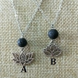 $enCountryForm.capitalKeyWord NZ - Lotus Flower Natural Black Lava Diffuser Necklace Volcanic Rock Beads DIY Aromatherapy Essential Oil Diffuser Necklace Women Jewelry