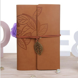 leather notebook wholesalers UK - Vintage Leather Travel Journal Notebook Leaves Decoration stationery notebook leaves A6 stationery student notepads cowhide paper books