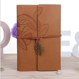 $enCountryForm.capitalKeyWord NZ - Vintage Leather Travel Journal Notebook Leaves Decoration stationery notebook leaves A6 stationery student notepads cowhide paper books