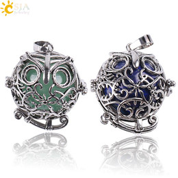 $enCountryForm.capitalKeyWord NZ - CSJA Vintage Silver Openable Locket Charm Necklace Pendants Owl Bird Cage Round Natural Stone Bead Ball Jewelry for Men Women Gift E683