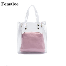 0c8ebd42eebc FEMALEE Women Transparent Plastic Handbag Designer PVC Top Handle Bag Lady  Clear Shopping Bag With Jelly Fashion Bag for Girls
