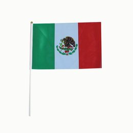 China 14*21cm Mexico flag with white pole and golden tip,Wholesale polyester material Flags good quality small National flags 100PCS LOT suppliers