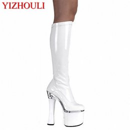 China fashion 18cm high heels and sexy runway looks high boots steel tube dance shoes boots taking pictures Winter cheap take pictures suppliers