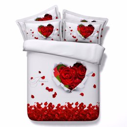 Floral Bedding Sets NZ - 3d I Love you Duvet Cover red rose heart bedding sets queen floral Bedspreads Holiday Quilt Covers Bed Linen Pillow Covers flower bedspread