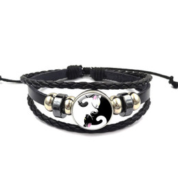 China Time gem charm bracelet Chinese Yin-Yang tai chi cat colorful butterfly hand chain Multi-layer woven beads bracelet cheap yin yang bracelets suppliers