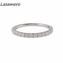 deco engagement rings UK - X825 LASAMERO 0.43CTW Round Shape Natural Diamond Accents Art Deco Vintage Halo 18k White Gold Engagement Wedding Ring For Women
