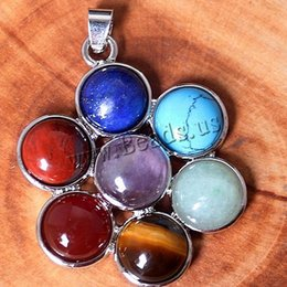 Wholesale Mini Chakra Natural Gem stone Pendants Reiki Healing Charm Jewelry Flower of Life Pendant Necklace Crystal Accessories
