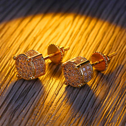 62b6b4766a17 Chapado en oro Redondo Pendiente Hip Hop Hombres Cool Gifts Pendiente  Charms Zircon Lujo Moda Zirconia Pendientes Ear Studs High Quality