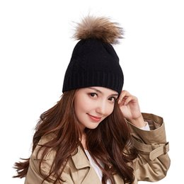 China Keep Warm Winter Hat Beanies Fur Wool pompon Knitted Hat elegant Female grey Caps Beanies Hats For Women Girl 'S Cap cheap women s beanies suppliers