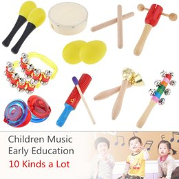 drum percussion instrument 2019 - 10 Kinds Colorful Musical Instruments Set 6 Inch Drum Percussion Toys Mixed for Children Baby Early Education Gifts disc