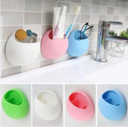 Discount wall mounted toothbrush toothpaste holder - Toothbrush Toothpaste Suction Cup Holder Wall Bathroom Sucker Cartoon Mount Rack Cup Holder Wall Mount Stand Organizer C
