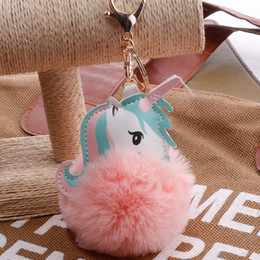 artificial chains wholesalers NZ - Sell Unicorn keyring for girl keys PomPom Keychain Lovely Fluffy Artificial Rabbit Fur Ball Key Chain Animal Women Car Bag Key Ring