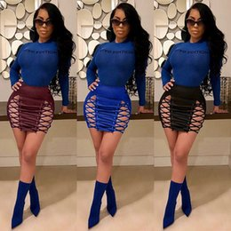 46111675d Sexy Split Eyelets PU Leather Mini Skirts High Waist Bandage Hollow Out  Women Skirt Night Club Party Lace Up Blue Skirt