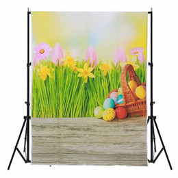 vinyl photography backdrops spring 2019 - 3x5FT Vinyl Photography Backdrop Wood Floor Spring Easter Egg Photo Studio Prop Photographic Background Cloth waterproof