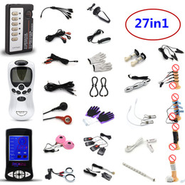 anal massagers UK - 27in1 Electric Shock Kit with SM Players Penis Ring Anal Plug Clips Urethral Sound Massage Roller Gloves Pads Pulse Therapy Massagers Toys