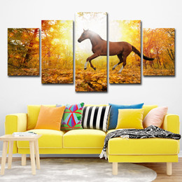 $enCountryForm.capitalKeyWord UK - Canvas Wall Art Modular Pictures HD Prints Poster Canvas Wall 5 Pieces Horses Running In The Snow Paintings For Living Room Decor