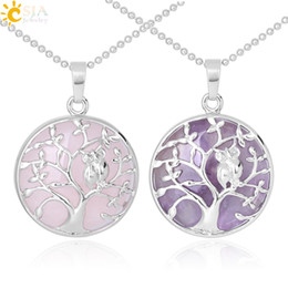 brass birds NZ - CSJA Silver Color Tree of Life Pendant Necklace Natural Stone Tiger Eye Amethyst Crystal Quartz Birds Owl Collier Women Charm Jewelry F343 A