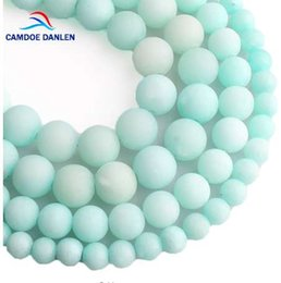 $enCountryForm.capitalKeyWord Canada - CAMDOE DANLEN Natural Stone Blue Amazonite Frosted Beads Matte Round Loose Beads 6 8 10 12MM For Jewelry Making Fit DIY Bracelet