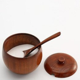 $enCountryForm.capitalKeyWord UK - Nature Solid Wood Round Sugar Jar with Lid with Spoon Spice Bowl Salt Container Kitchen Accessories Storage Case ZA3038