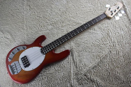 Left Handed Basses Australia - Left Handed High Quality Cherry Red Music Man Ernie Ball Sting Ray 4 String Electric Bass Guitar with active pickups 9V battery