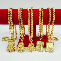 """Chinese Mens 18K Gold Plated Necklace Pendant 24"""" Chain Jewelry Gift"""