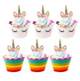 $enCountryForm.capitalKeyWord NZ - 24pcs Unicorn Cupcake Toppers Wrappers Kids Favors Unicorn Party Decoration Rainbow Birthday Baby Shower Cake Topper