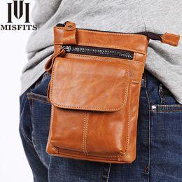 $enCountryForm.capitalKeyWord NZ - Men's Genuine Leather Waist Pack Fashion Hip Belt Bum Pack Travel Fanny Belt Pack 7 inch Mobile Phone Purse Pouch Men's Gift