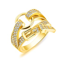 $enCountryForm.capitalKeyWord UK - Gold Color Fashion Simple Women's Gemstone Belt Rings Stainless Steel Ring Jewelry Gift for Lady Girl 073