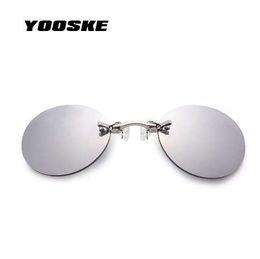 d1a5876c02ce YOOSKE Clip On Nose Sunglasses Men Vintage Hacker Empire Matrix Morpheus  Rimless Sun Glasses Round Glasses UV400
