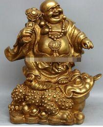 Brass Happy Buddha Australia - 1 Chinese Brass Fu Happy Laugh Maitreya Buddha Ru Yi Statue Sculpture