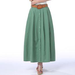 e0843a1d15 2017 Primavera y Verano falda de busto de cintura alta Falda plisada de las  mujeres de verano medio largo de lino más el tamaño S-2XL