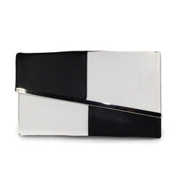 $enCountryForm.capitalKeyWord UK - Fight Color PU Leather Summer Women's Clutch Bags Chain Black and White Large Capacity Envelope Bag Women Party Evening Bag Sale