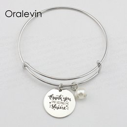 Chinese  THANK YOU FOR HELPING ME SUNSHINE Inspirational Hand Stamped Engraved Charm Pendant Bracelet Bangle Jewelry,10Pcs Lot, #LN1932B manufacturers