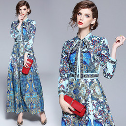 peacock casual dress NZ - 2019 Summer Fall Runway Fashion Peacock Print Bow Tie Neck Ribbon Long Sleeve Women Ladies Casual Maxi Designer Dresses
