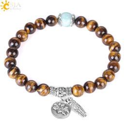 lotus flower gifts UK - CSJA 8mm Natural Stone Tiger Eye Bracelet Amazonite Pulseras Hombres Buddhism Rosary Bead Bracelets Buddha Hand Lotus Flower Jewelry F386