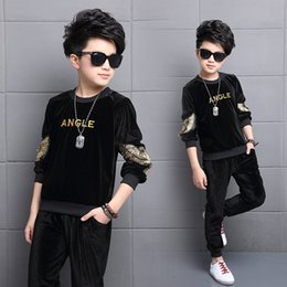 $enCountryForm.capitalKeyWord Australia - Kids Clothes Boys Spring Autumn Gold Velvet Sports Suit Boys Girls Set Children Clothes Set 2pcs Sweatshirt+Pants