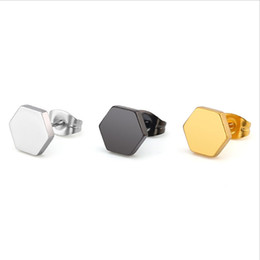 $enCountryForm.capitalKeyWord UK - 10piars lot Simple Unisex Hiphop Solid Hexagon Stainless Steel Earrings Black Gold Geometric Ear Studs Jewelry For Women Men