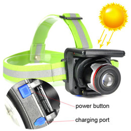 China Waterproof Solar Powered Headlight 5W 350lm LED XPE Headlamp Outdoor Sport Zoomable Flashlight With Head Belt SOLAR PANEL +Wall Charger cheap wholesale solar panels 5w suppliers