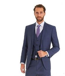 dfc6d6e8d5 ... azul marino padrinos de boda solapa máxima mejor hombre traje   novio    boda   baile   trajes de cena (chaqueta + pantalones + chaleco) envío gratis